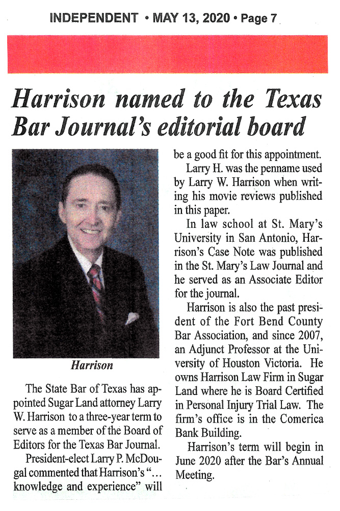 Harrison named to the Texas Bar Journal's editorial board